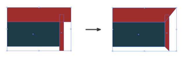 Using the direct selection tool on red rectangles