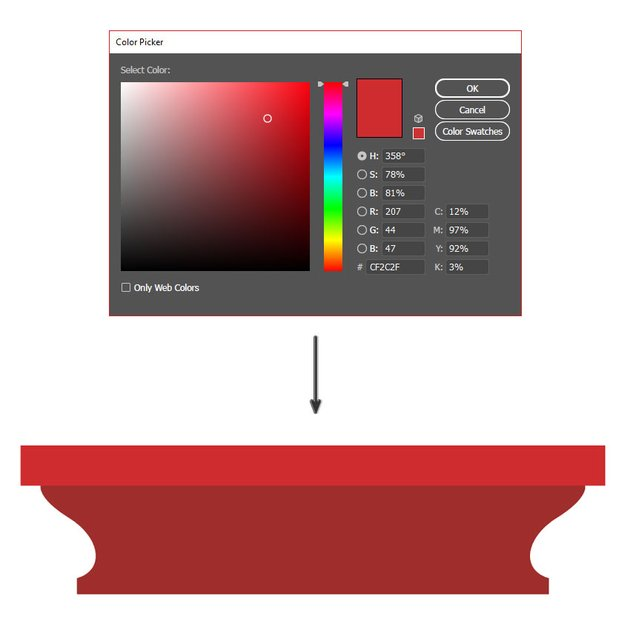 Add a bright red rectangle on top of your shape