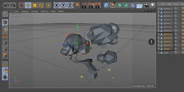 Selecting a group of sphere objects