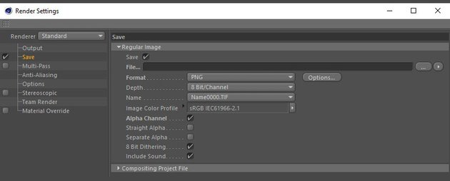 Adjusting the render settings for save