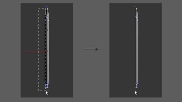 Delete half of the blade