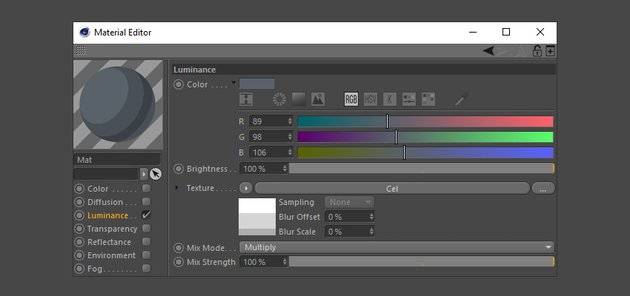 Creating the dark grey colour material