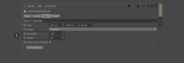 Adjust Bend Derformer parameters