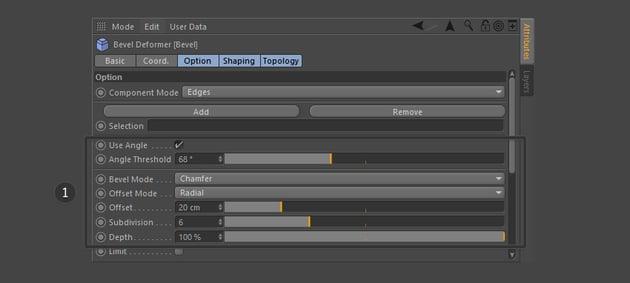 Adjust the Bevel object settings