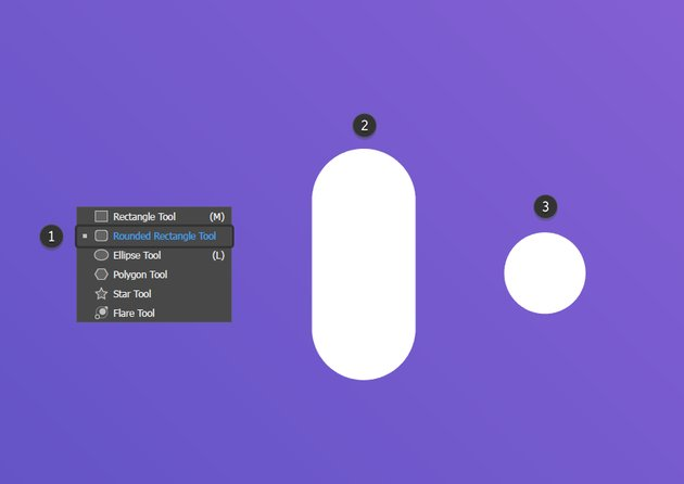 Use the Rounded Rectangle Tool and Ellipse Tool