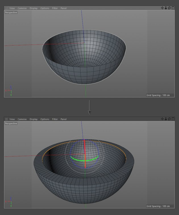 Adjust the thickness of the Hemisphere object