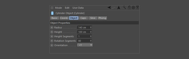 Adjust the Cylinder Object properties