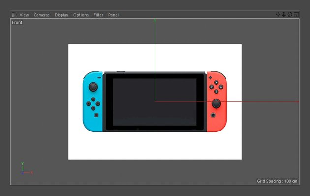Imported Nintendo Switch image in Cinema 4D