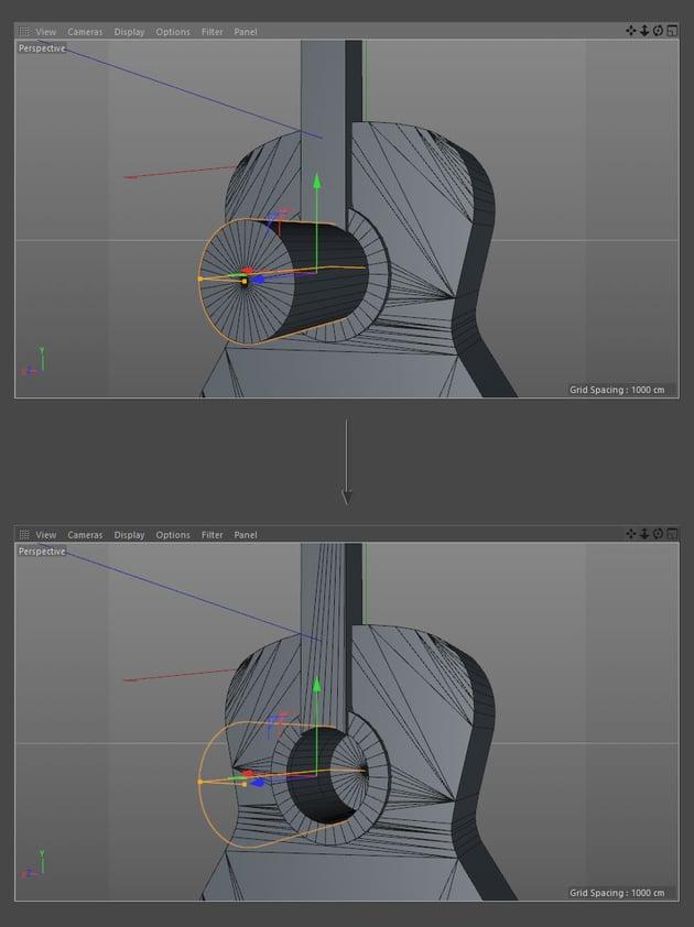 Cut a curve into the neck