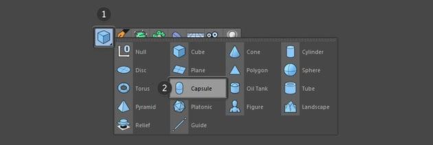 Select capsule from the top menu