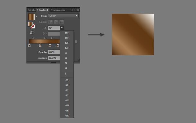 Adjust angle of gradient