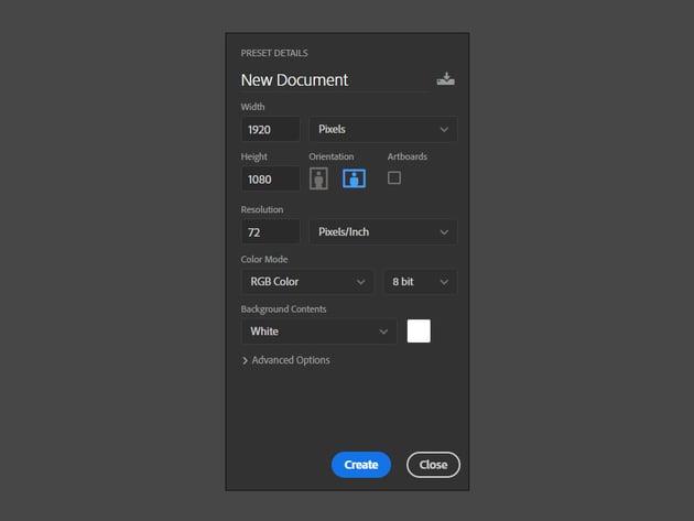 Set up a new Adobe Photoshop document