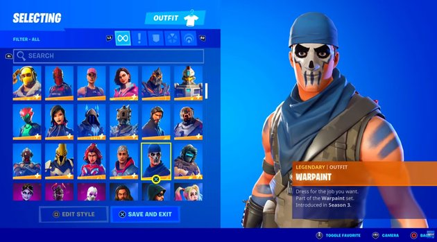 Fortnite character select screen