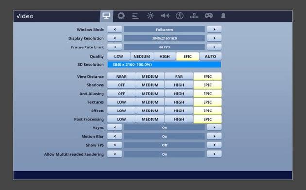 fortnite game settings