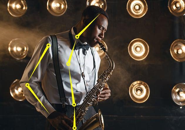 saxophone player with bones