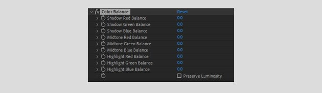 color balance options
