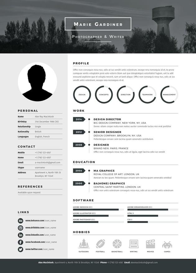 Mono Resume template from Envato Market