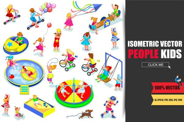 People Kids Isometric Vector