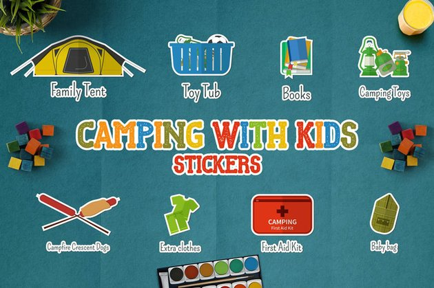 Camping With Kids Stickers  Icons and Logos