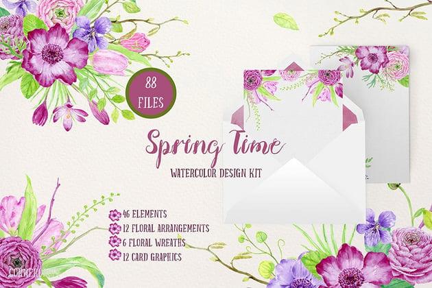 Watercolor Design Kit Spring Time