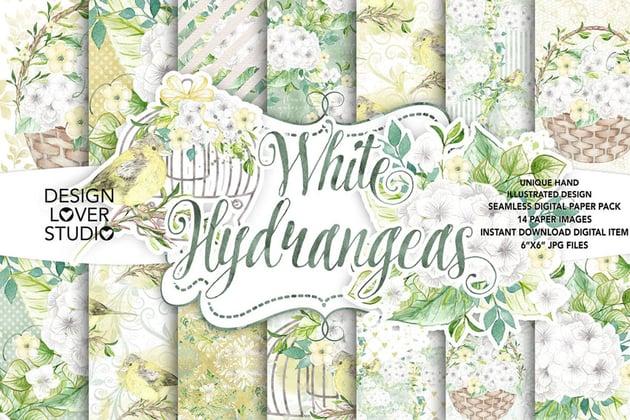 Watercolor White Hydrangea Digital Paper Pack