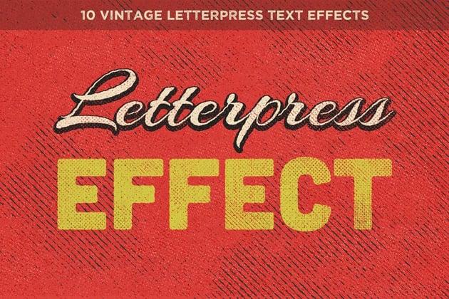 Vintage Letterpress Text Effects Vol 1