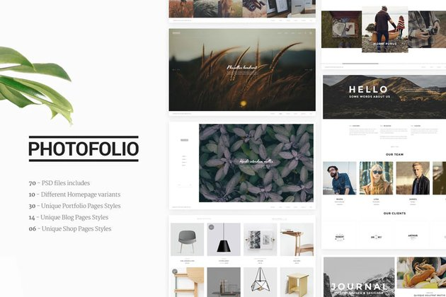 Photofolio - Photography Portfolio PSD Template