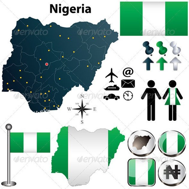 Nigeria Map with Regions Vector Images