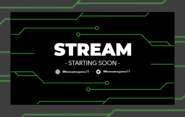 Twitch Stream Starting Soon Overlay Maker with Chip Circuit Graphics