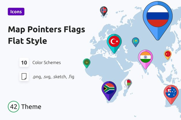 Map Pointers Flags Flat Style