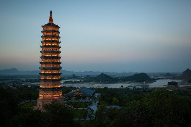 Evening view of Bai Dinh Pagoda in Ninh Binh Vietnam
