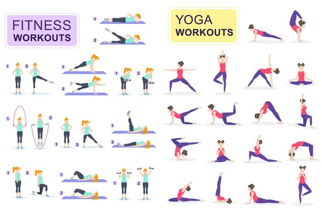 Fitness and Yoga Flat People Characters