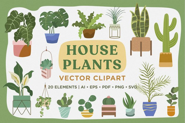 House Plants Vector Clipart Pack available from Envato Elements