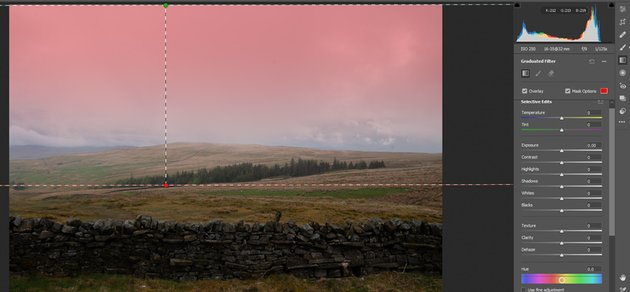 Graduated filter with mask