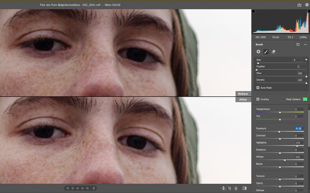Before and after of eyes
