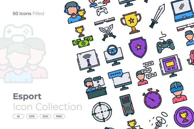 Esport Filled Icon - from Envato Elements