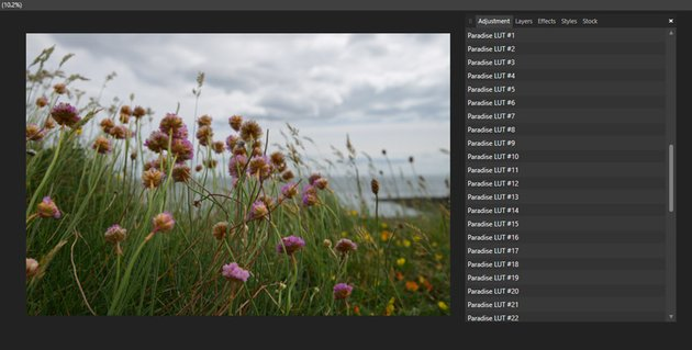 Your LUTs will appear in a list under Adjustments > LUTs
