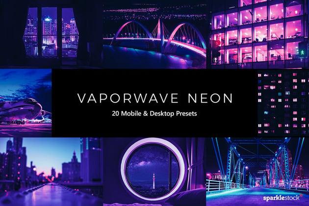 20 Vaporwave Neon Lightroom Presets & LUTs