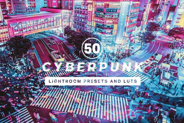 50 Cyberpunk Lightroom Presets and LUTs