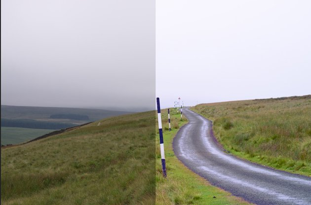 Before and after LUT application