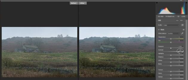Contrast slider in Adobe Camera Raw