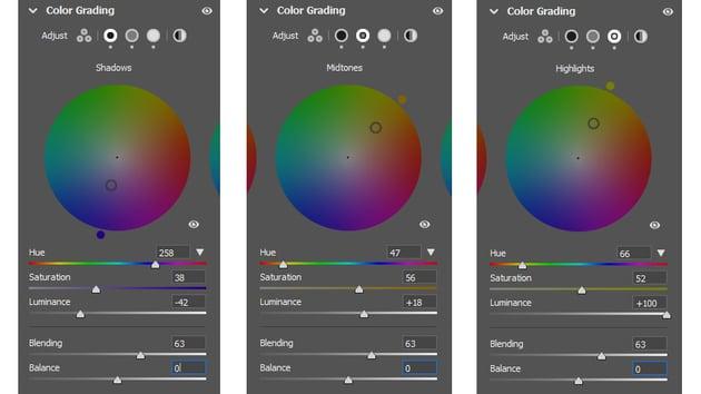 Colour wheel adjustments