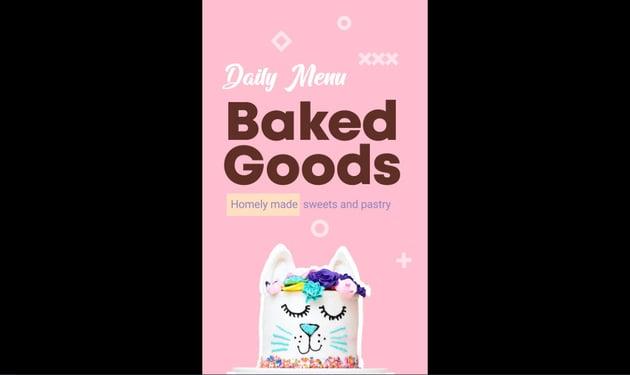 Baked Goods Menu Vertical Version
