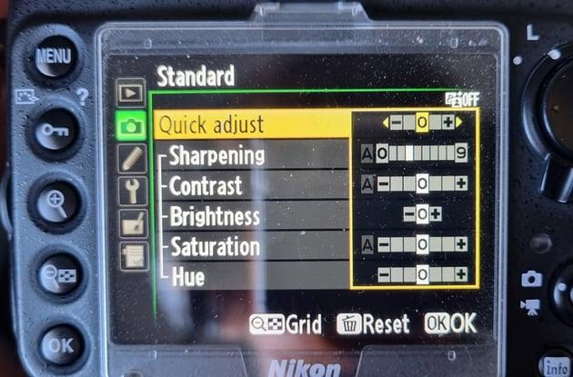 make adjustments in camera