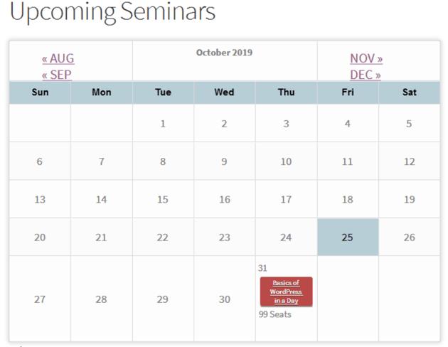 The event calendar view