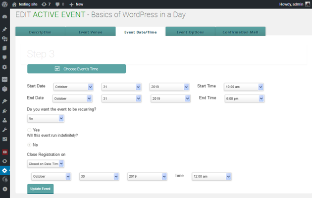 Setting the event date and time for a one-off event