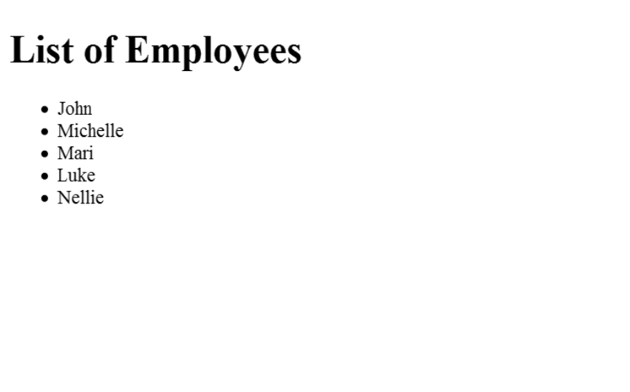 Output showing a list of employees