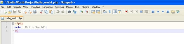 Hello World file opened in text editor