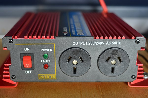 Inverter to convert the DC power from a battery to the AC power needed by electronic devices