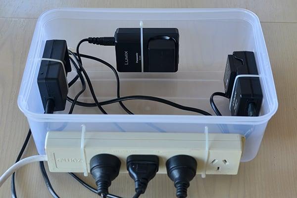 Charging station using three Panasonic battery chargers